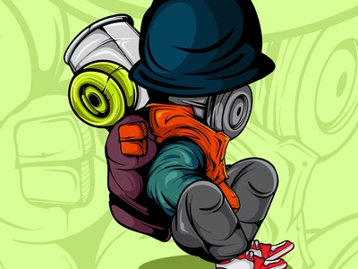 GRAFFITI CHARACTER design spray paint graffiti doodle character vector illustration art