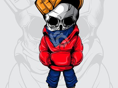 THE SKULL design doodle character vector illustration art