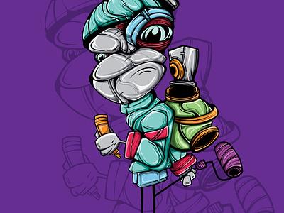 FREAKY SPRAY PAINT design spray paint graffiti doodle character vector illustration art