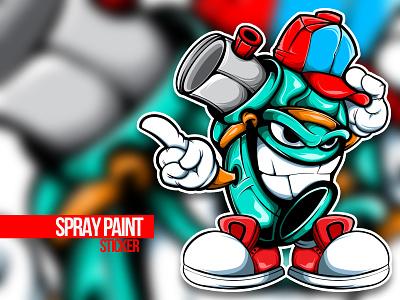 THE SPRAY PAINT CHARACTER sticker design spray paint graffiti doodle character vector illustration art