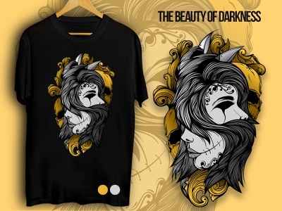 THE BEAUTY OF DARKNESS t-shirt apparel graphic design design doodle character vector illustration art