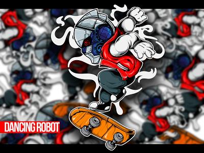 DANCING ROBOT logo design graffiti doodle character vector illustration art