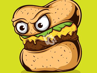 BIG BURGER MONSTER VECTOR ILLUSTRATION monster food burger graphic design design doodle character vector illustration art