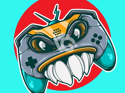 MONSTER JOYSTICK graphic design mascot game logo design doodle character vector illustration art