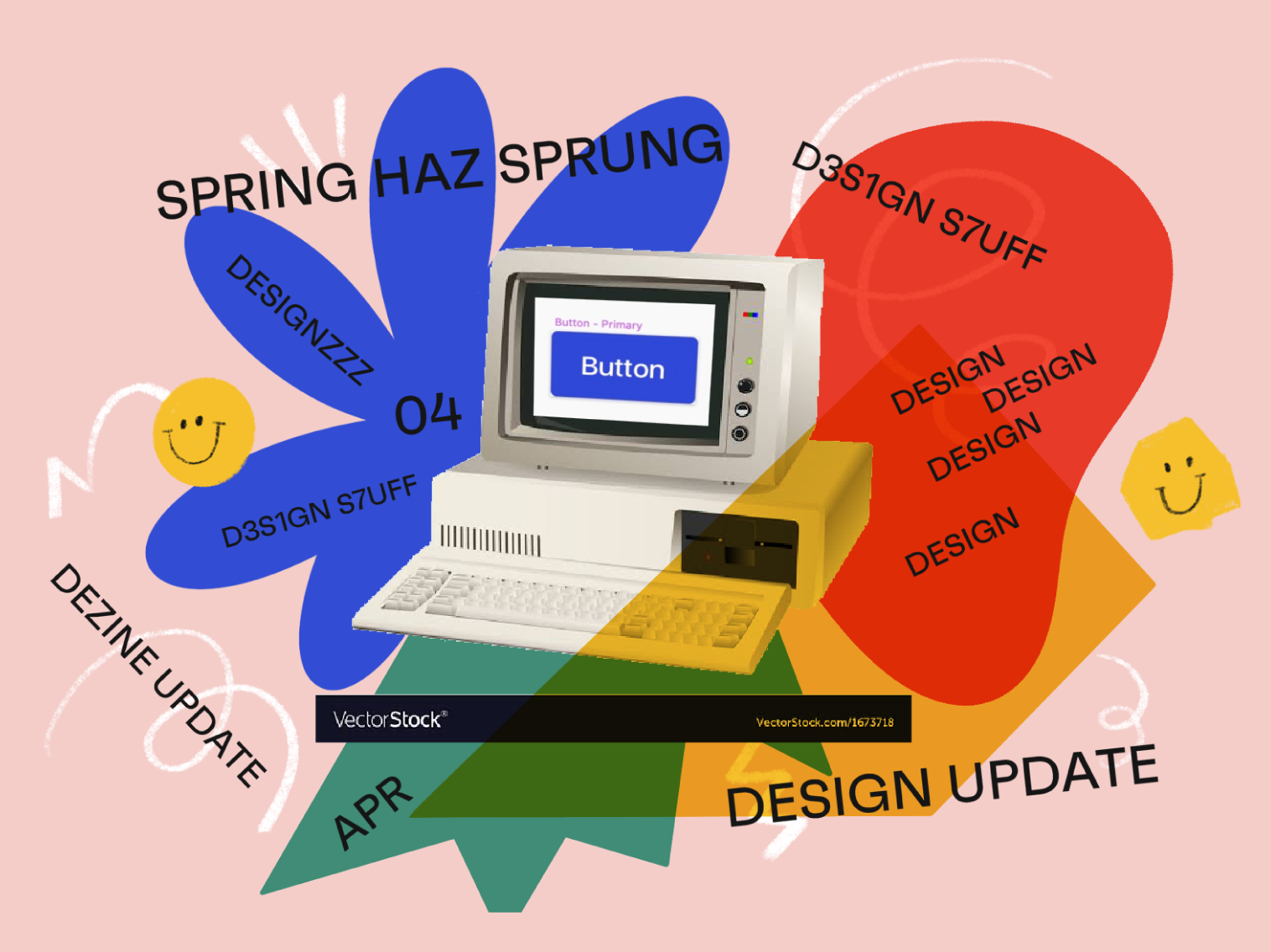 DESIGN STUFF 90s type flowers computers primary colors colors cute faces smiley face ux ui collage design
