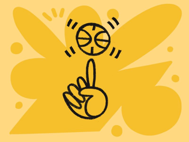 Handles yellow pop procreate ipad pro illustration doodle sports ball hoops basketball