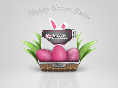 Happy Easter Folks happy easter easter rabbit bunny easter bunny illustration icon nest basket leaves egg eggs photoshop wallpaper freebie