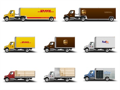 Truck Collection truck delivery transport transportation traffic commerce dhl ups fedex water photoshop icon illustration car