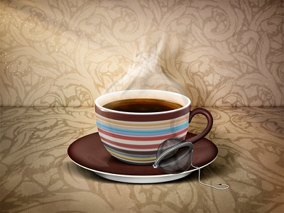 Tea Time Illustration tea cup mug steam texture lighting illustration icon photoshop smoke shadow berlin