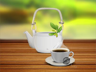 Teapot teapot tea cup mug wood texture lighting steam shadow porcelain