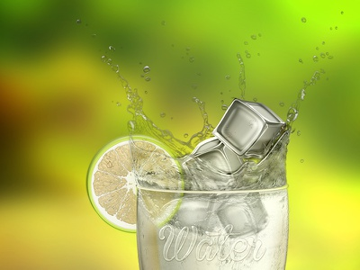 Water Glass water glass ice lime splash cube fruit cold fresh