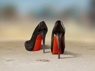 High Heels illustration high heels shoe sand beach blur shadow