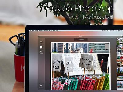 Photo App ui ux interaction design icon gui desktop photo edit manage view list slider