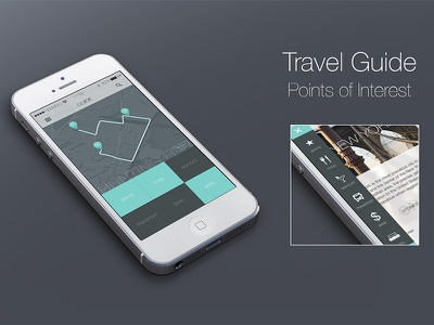 Travel Guide App travel guide points of interest navigation menu map smartphone icons bus silverware bed glass
