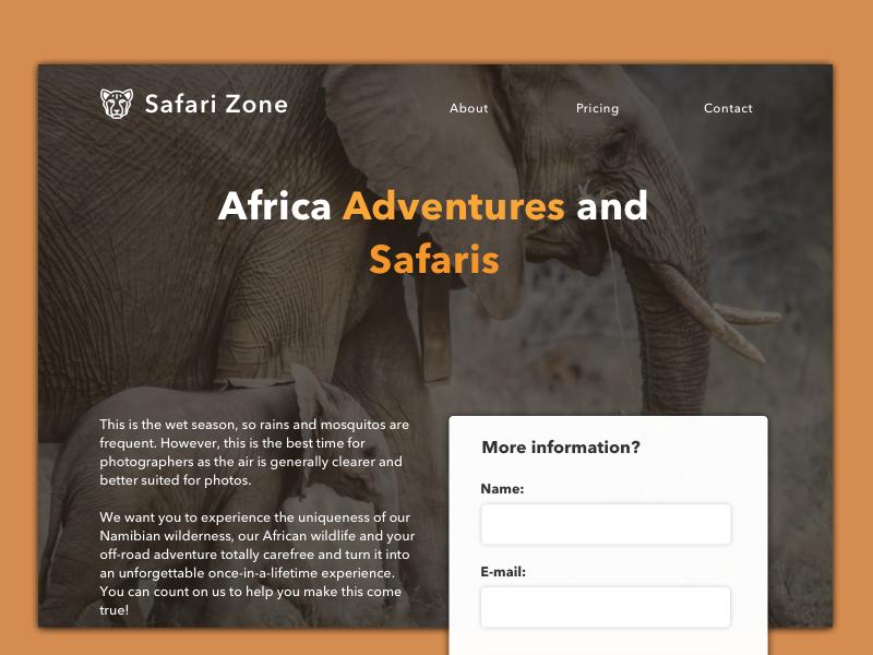 Daily UI #003 - Landing Page form browser web dailyui mexico safari page landing