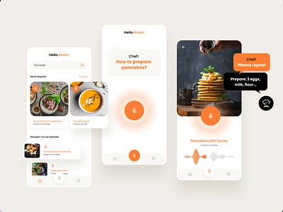 Chef voice app concept voice chef food recipe design minimal ux ui mobile app