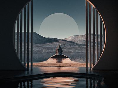 Quiet Time ✨ inspired clean minimal light texture gradient reflections landscape maxon render concept illustration design cinema 4d octanerender c4d 3d