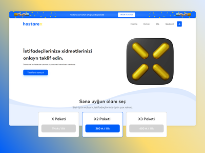 hostarex.com | website | UI/UX design shape gold blue 3d hosting branding adobexd figma bcp azerbaijan uidesign uiux ui baku creative projects