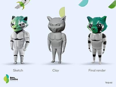 BCP mascot | 3D model | Blender azerbaijan sketch racoon modeling model clayrender mascot texture clay illustration 3d bcp baku creative projects