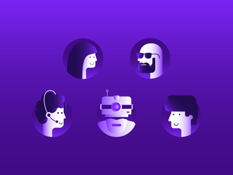 Band characters robot android face icons purple flat gradient
