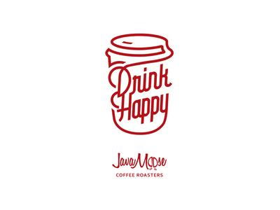 Drink Happy Wordmark! word mark red coffee