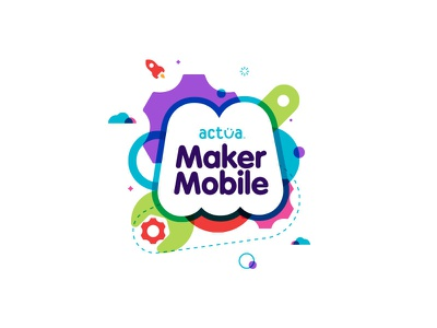 Actua Maker Mobile logo identity color wrench rocket gears