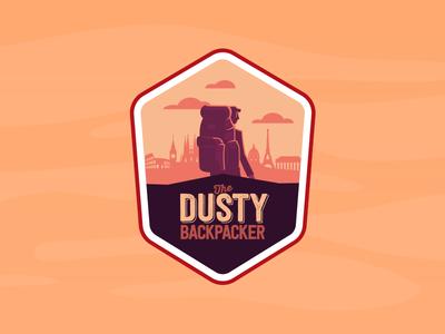 Dusty Backpacker europe orange illustration coffee label
