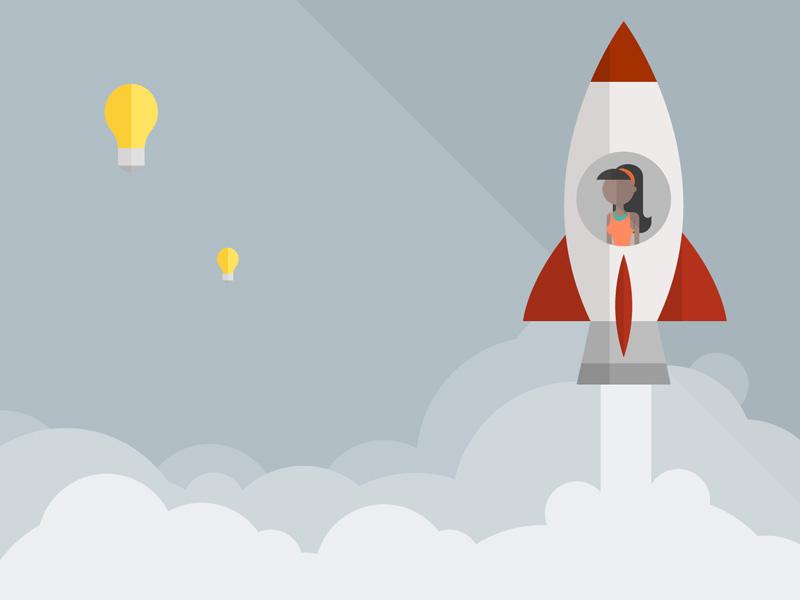 Going Beyond light bulb rocket design illustration innovation brainstorming google