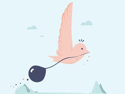 Little Bird, balloon series #1 illustration love flat bird balloon