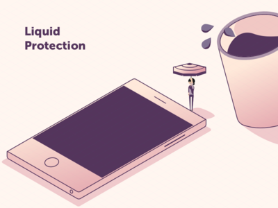 Phone protection: Liquid protection phone illustration vector isometric