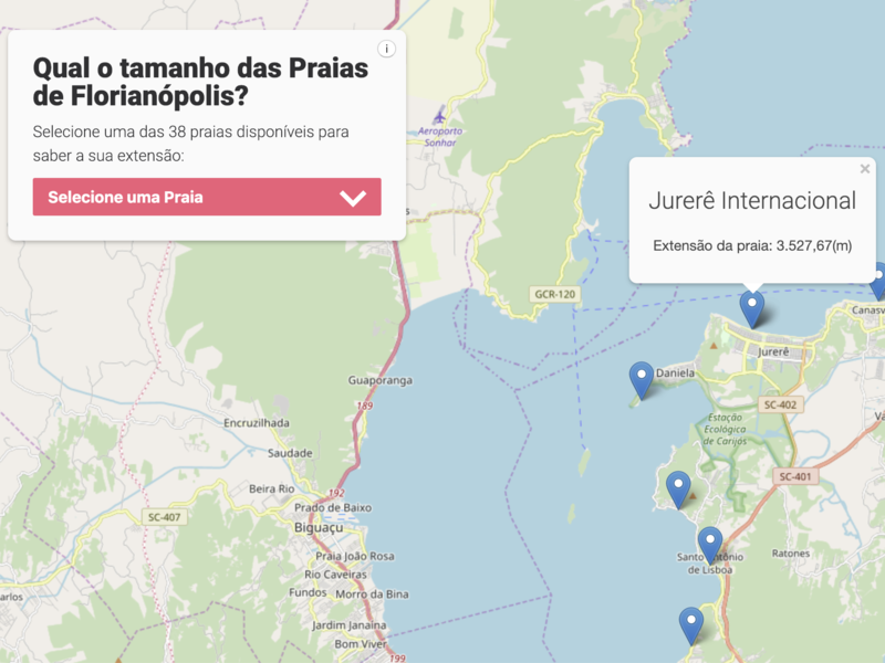 Qual o tamanho das praias de Florianópolis front-end development brazil datavisualisation leaflet map javascript dataviz florianopolis