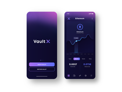 Vault X - Crypto Wallet v letter logo logodesign logo ui design ui  ux interface x wallet v letter v ux ui mobile coin app icon crypto wallet cryptocurrency crypto