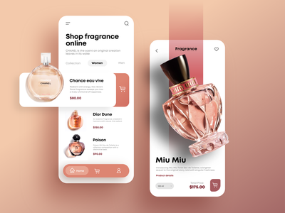 Perfume Shop App cosmetic web graphic design logo orange dior chanel shop store app perfume ux  ui ux design uxdesign ui design uiux ui  ux ux ui