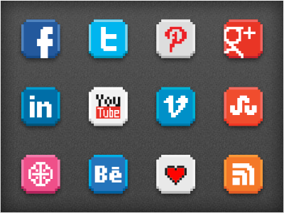 Free download: 8-bit social icon pack social media icons 8-bit retro nostalgia gaming video games 1980s
