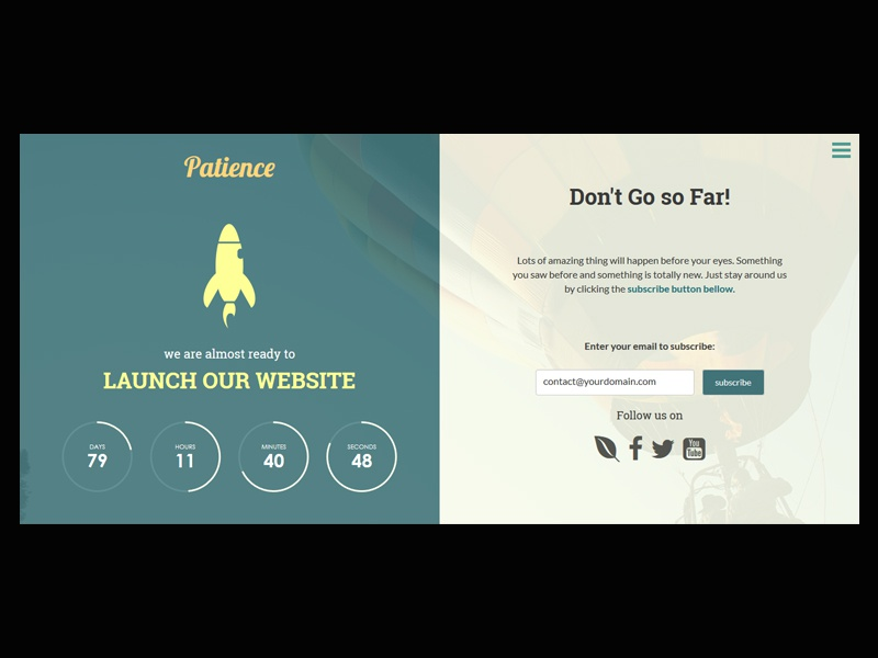 Freebie: Patience Responsive Coming Soon Page landing page html5 under construction maintenance coming soon