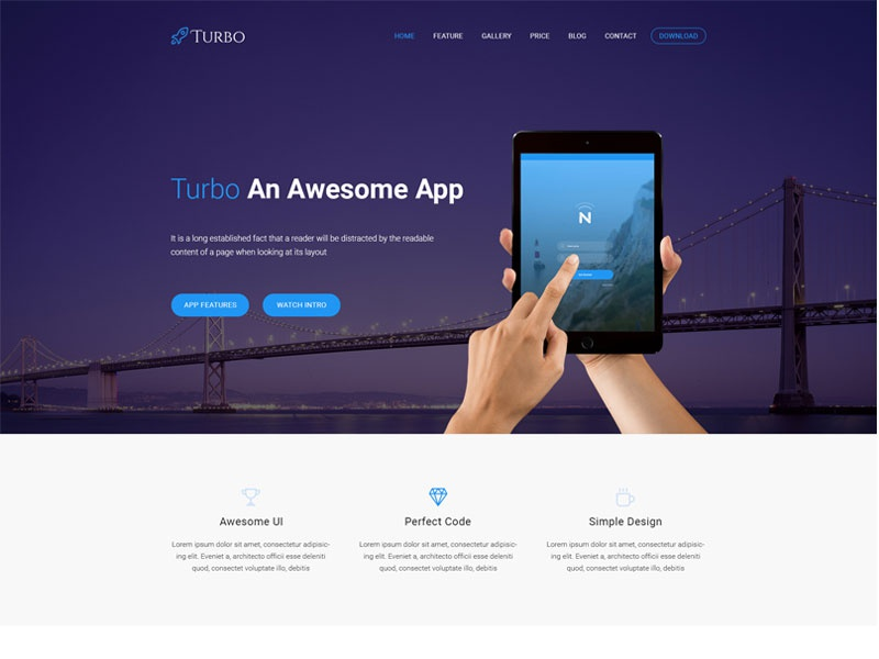 Turbo App Landing Template marketing landing page landing page clean app landing app turbo
