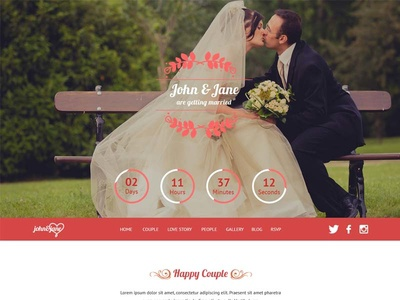 J&J Wedding Theme countdown rsvp love story couple wedding invitation wedding event wedding theme