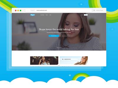 Skype Web UI Re-design Concept skype presentation software skype web ui product landing app landing saas