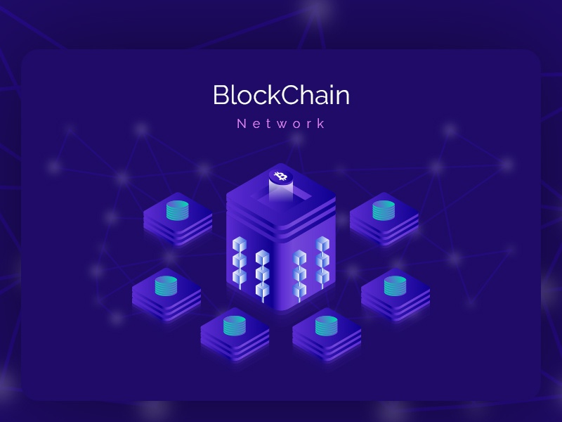 Blockchain Network Isometric Illustration crypto currency ico blockchain isometric