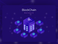 Blockchain Network Isometric Illustration