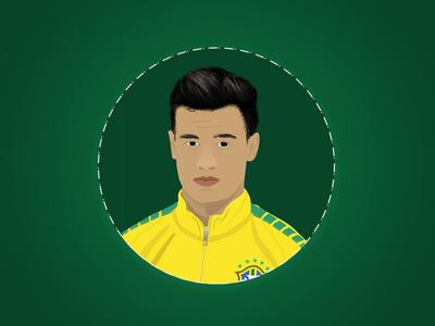 Philippe Coutinho Soccer Player/Football star sketch art cartoon face star football soccer illustration