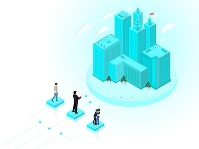 Isometric City - Our Mission mission people city town building illustration isometric