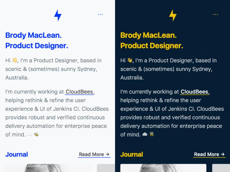 Night Mode 🌑 // Brody.com  portfolio personal web cards ux ui interface dark