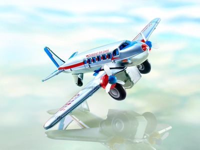 schylling toy metal dc3 airplane composite  image photography