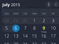Fullscreen Date Picker - Dark UI