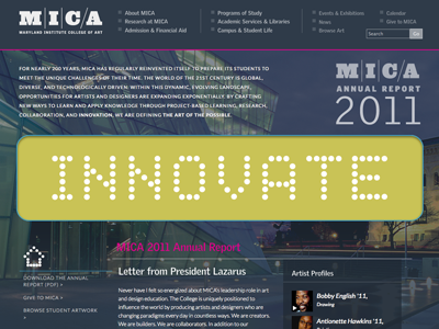 MICA 2011 Annual Report website annual report mica innovate portfolio