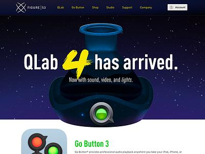 Redesign of Figure53.com go button qlab software figure 53 website