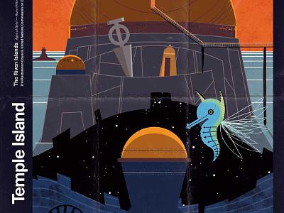 Riven—Temple Island modern illustration imaginary fauna riven myst