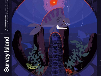 Riven—Survey Island modern illustration imaginary fauna riven myst