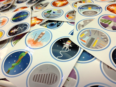 Fragile Oasis Badges portfolio badges fragile oasis nasa space outreach stickers